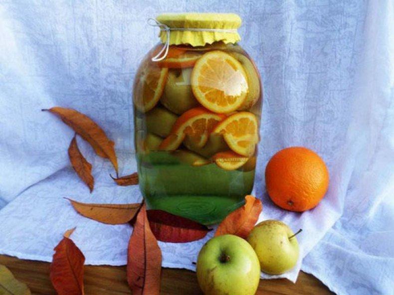 Компот из яблок и персиков на зиму: 4 лучших пошаговых рецепта приготовления