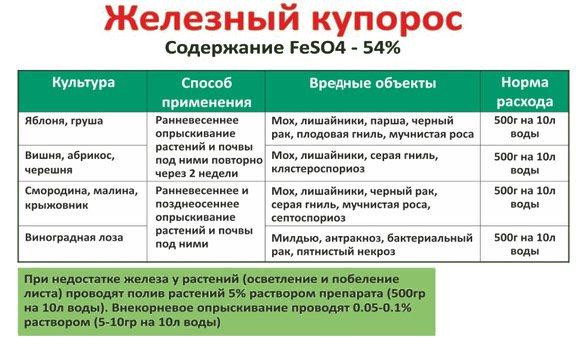 Железный купорос - применение в садоводстве, нормы расхода, инструкция