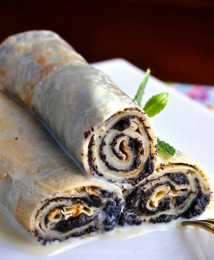 Блины с маком рецепт с фото пошагово - 1000.menu
