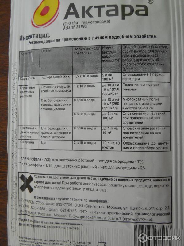 """""""актара"""": инструкция по применению, состав, нормы использования, отзывы - sadovnikam.ru"""
