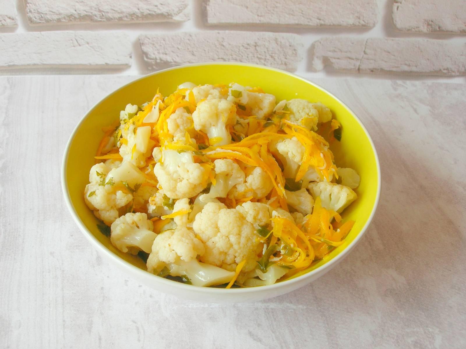 Цветная капуста по-корейски: фото и пошаговый рецепт быстрого приготовления в домашних условиях — как сделать настоящий салат с морковью и консервы на зиму русский фермер