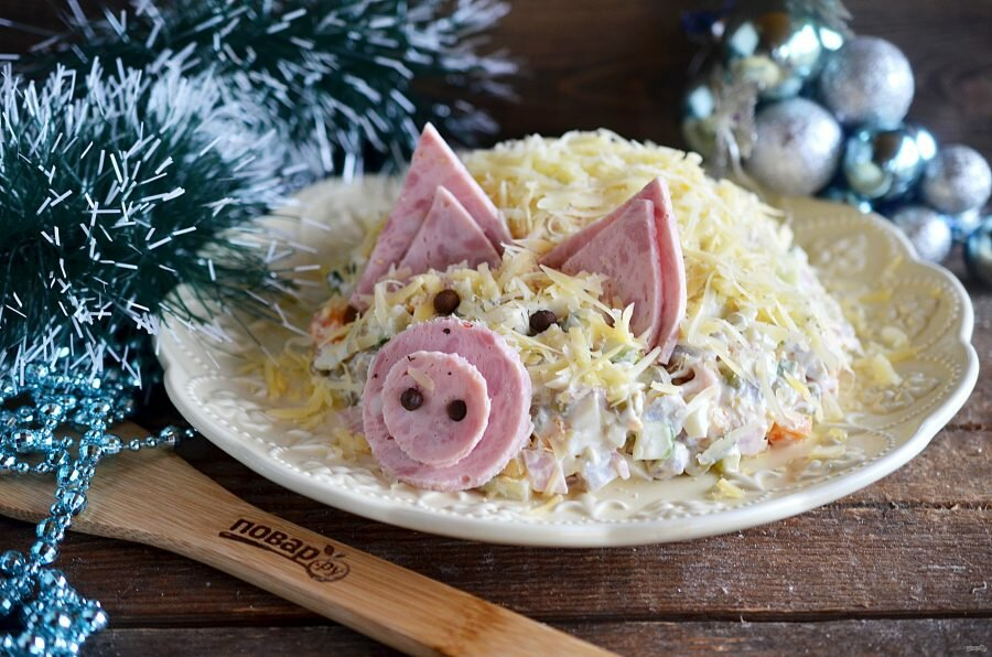 Салат в виде свиньи на новый год — 8 пошаговых рецептов