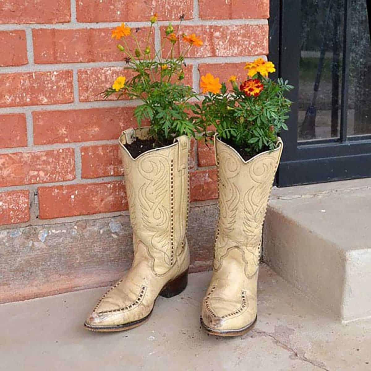 Клумба в ботинке: 46 оригинальных контейнеров для растений из старой обуви