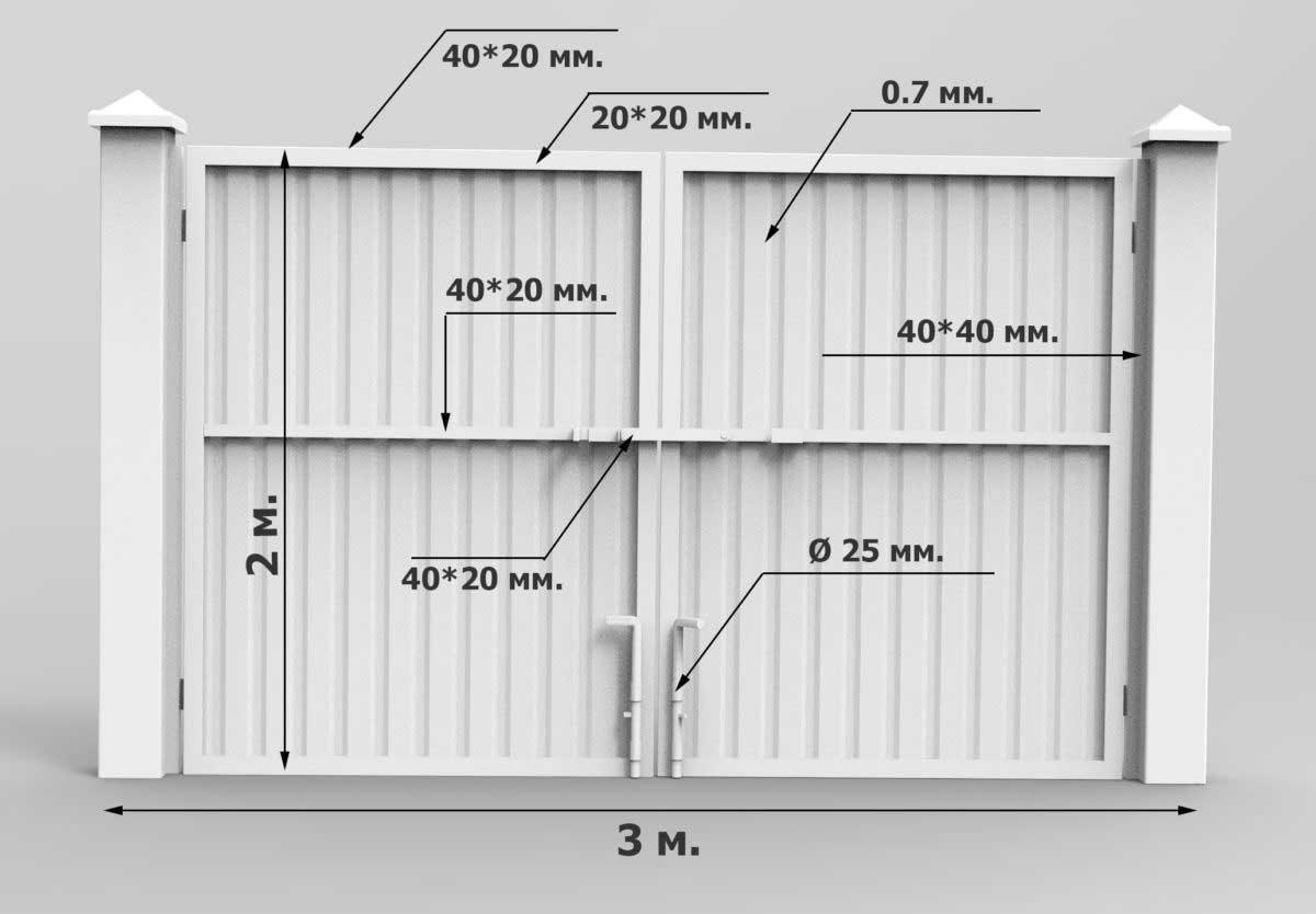 Ворота из профнастила (50 фото):как сделать забор с калиткой из металлопрофиля и профлиста своими руками