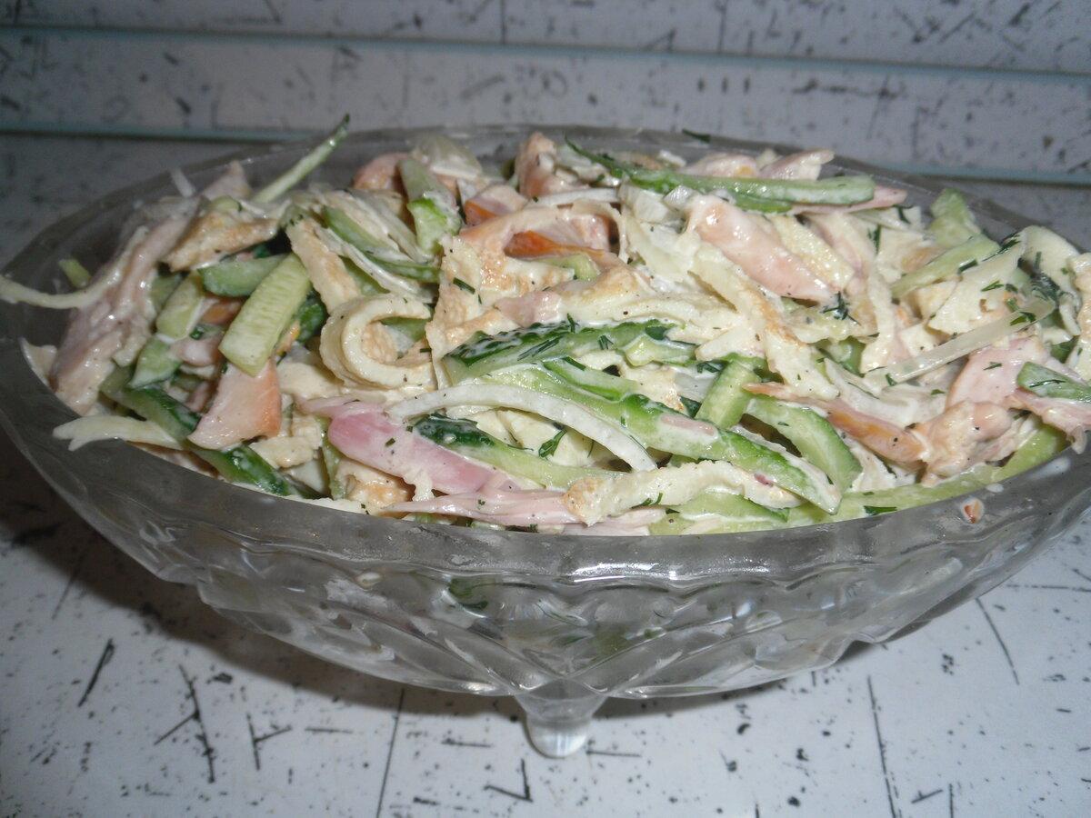 Салат с яичными блинчиками и курицей – многогранный вкус и гениальная простота: рецепт с фото и видео
