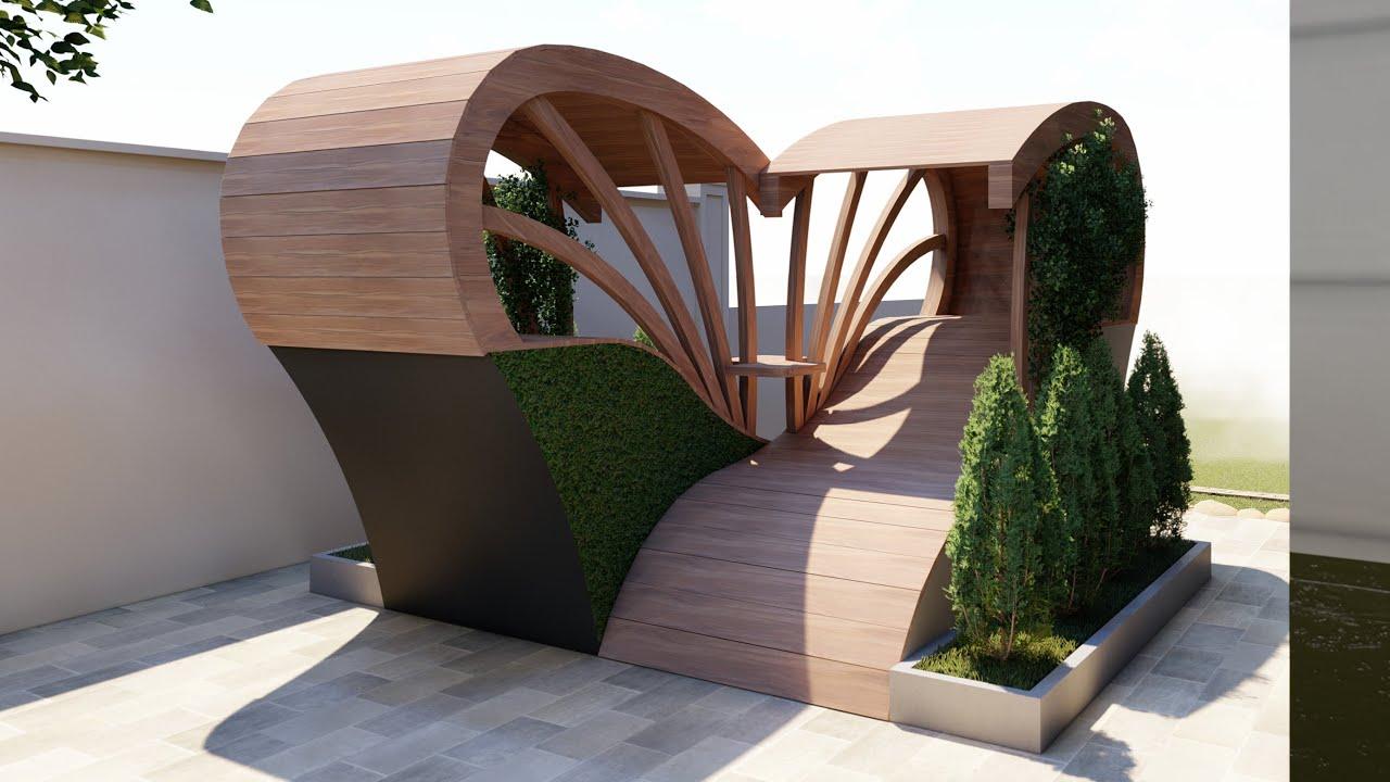 Малые архитектурные формы в ландшафтном дизайне сада из дерева, металла - фото