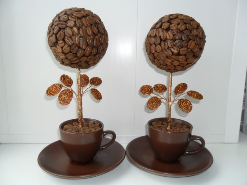 Кофейный топиарий своими руками: мастер-класс изготовления красивых поделок из кофейных зерен для начинающих