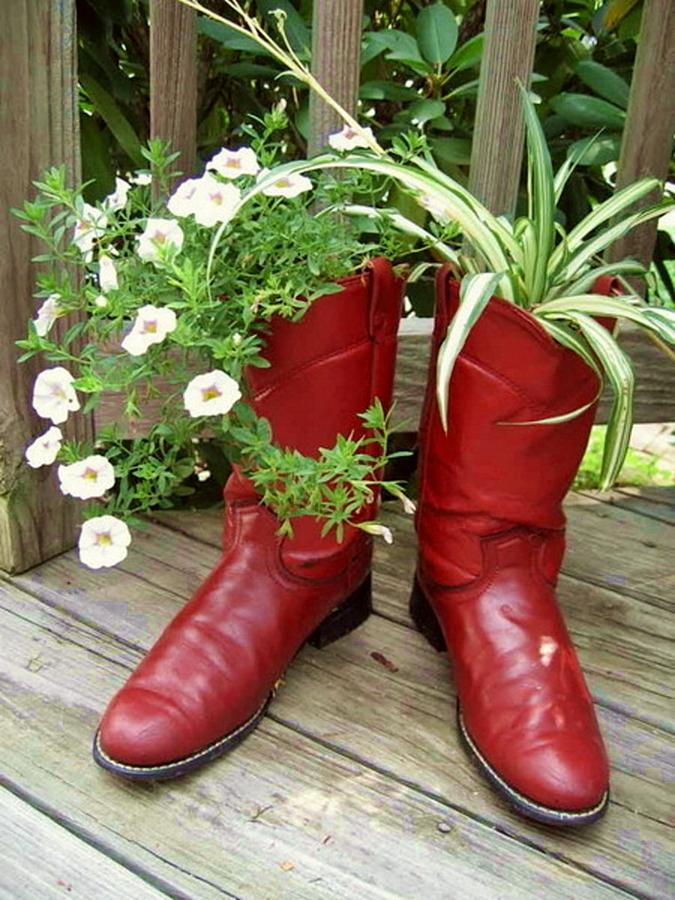 Клумба в ботинке: 46 оригинальных контейнеров для растений из старой обуви   дизайн-ремонт.инфо. фото интерьеров. идеи для дома