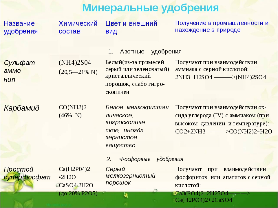 Минеральные удобрения: что это, состав, виды, применение, дозировки