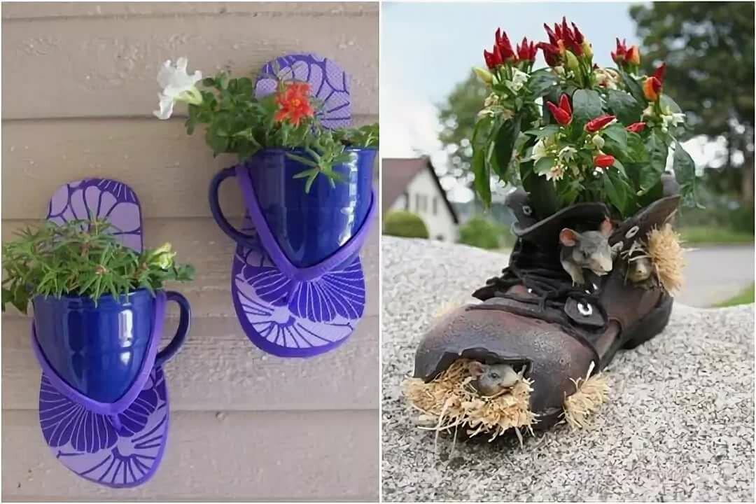 Оригинальные клумбы для цветов из старых сапог и ботинок