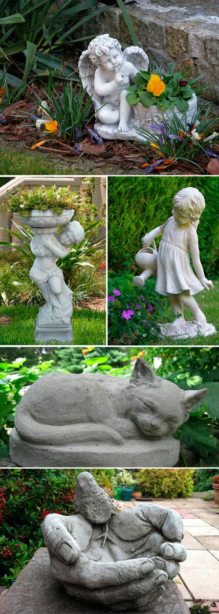 Садовые скульптуры и фигурки из подручных материалов своими руками: виды, материалы, формы, варианты изготовления и установки