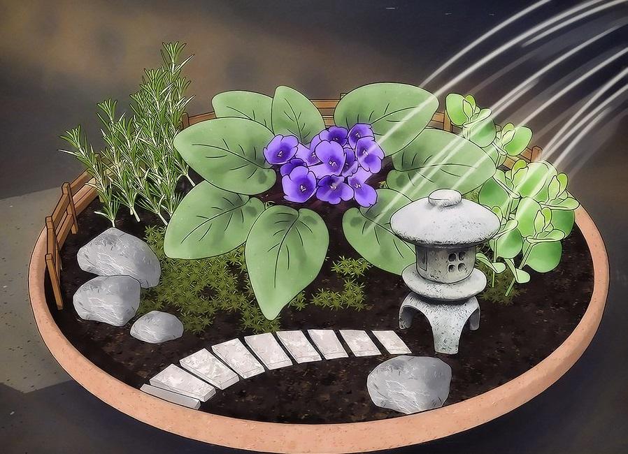 Мини сад в горшке и других ёмкостях - мастер-класс