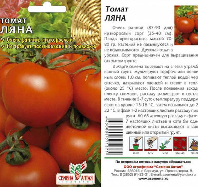 Описание и характеристики сорта томатов Ляна, урожайность, посадка и уход
