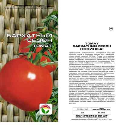 Томат бархатный сезон: описание и характеристика сорта, отзывы дачников с фото