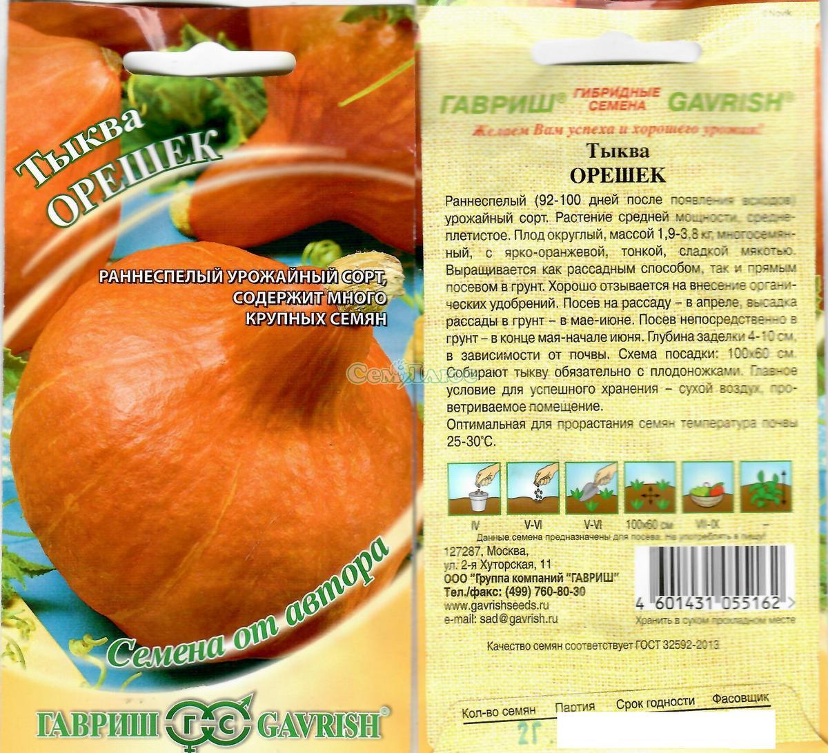 Описание сорта тыквы лесной орех, выращивание и уход