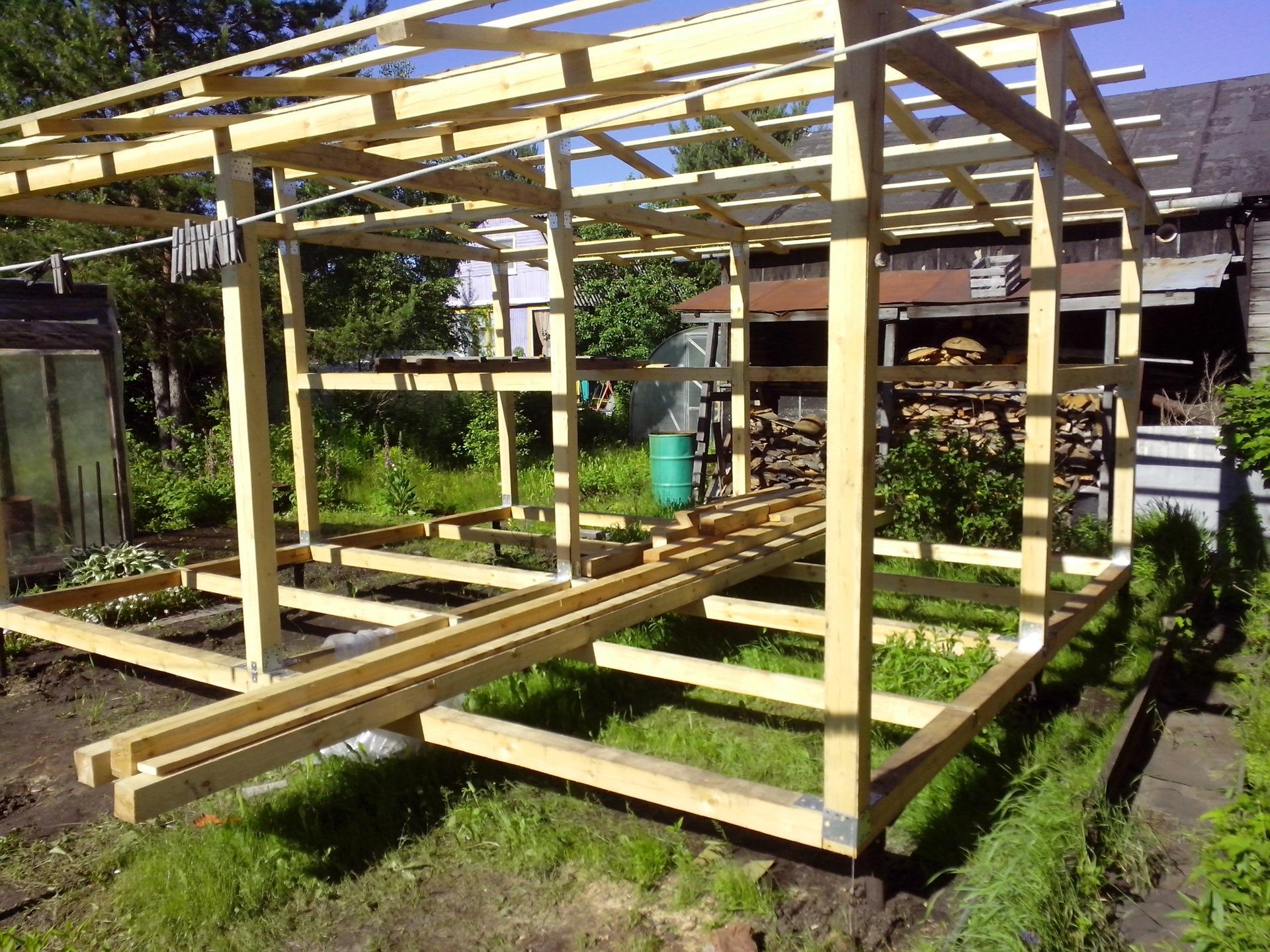 Особенности строительства на даче сарая с односкатной крышей размером 3х6 м