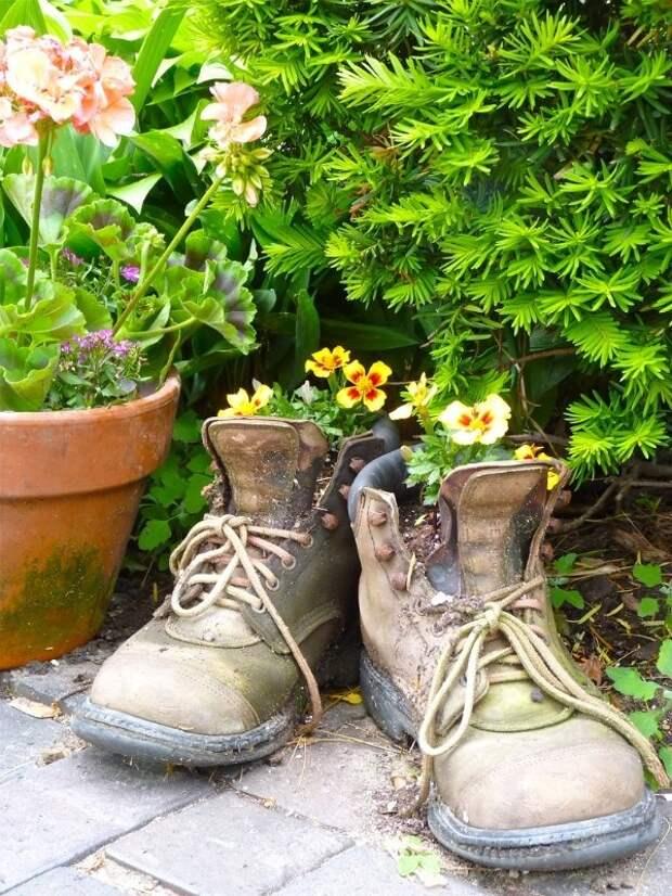 Вторая жизнь старой обуви: создаем необычный цветник