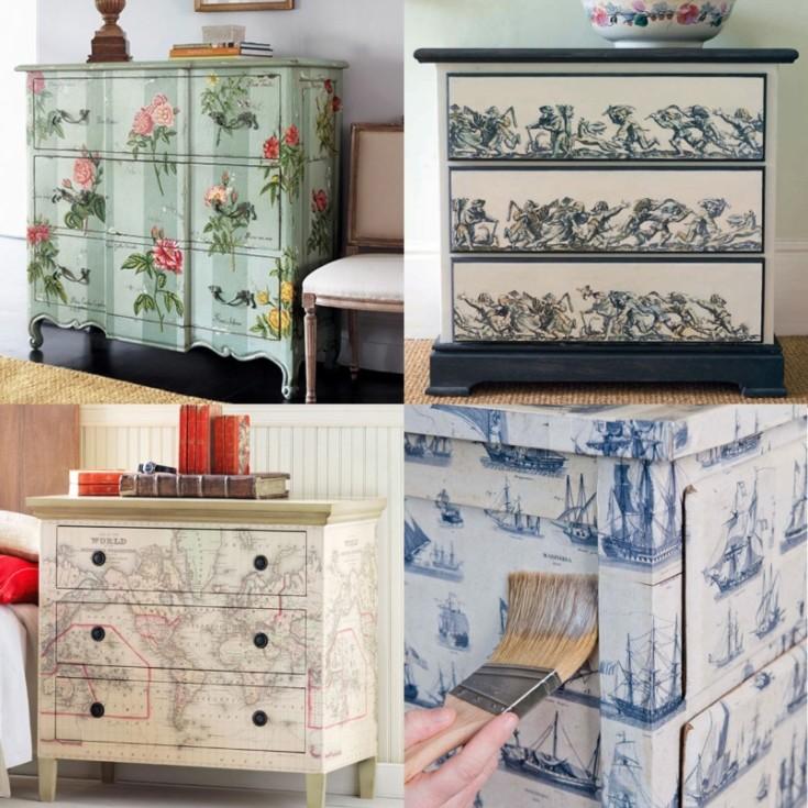 Красивый декупаж мебели: 105 фото и видеотехники украшения мебели