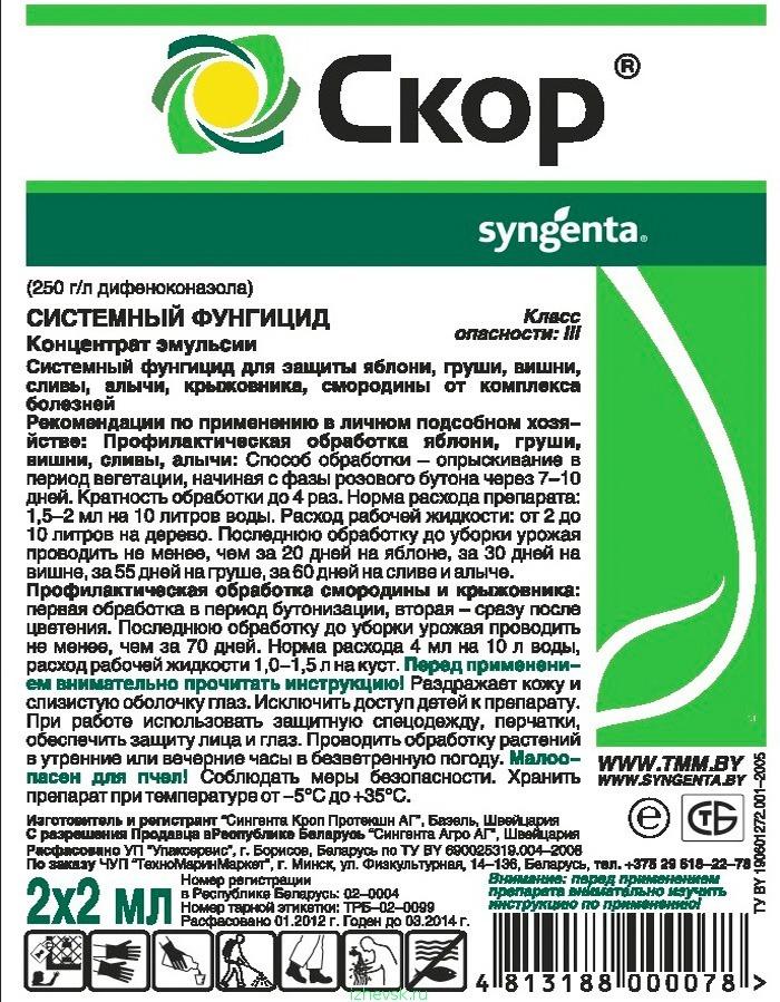 Фунгицид «скор, кэ» — регламенты обработок для защиты растений от болезней