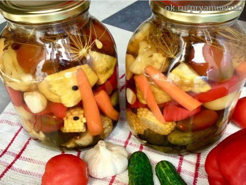 Салат огород на зиму - овощное ассорти из самых вкусных и свежих овощей: рецепт с фото и видео