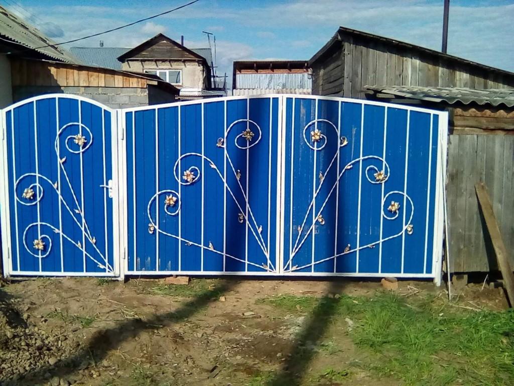 Ворота из профнастила. чертежи и схемы. пошаговые фото своими руками
