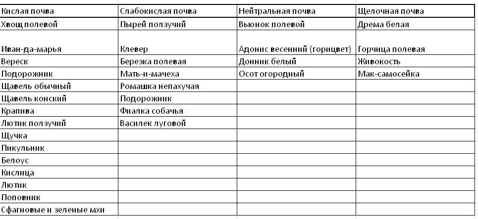 Кислотность почвы для растений и кустарников на даче (таблица)