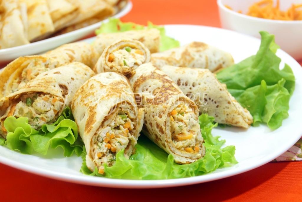Салат букет роз блины с курицей, грибы и корейская морковь рецепт с фото пошагово - 1000.menu