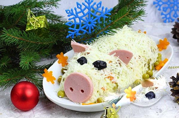 Салат в виде свиньи на новый год - новогодние рецепты к 2019 году
