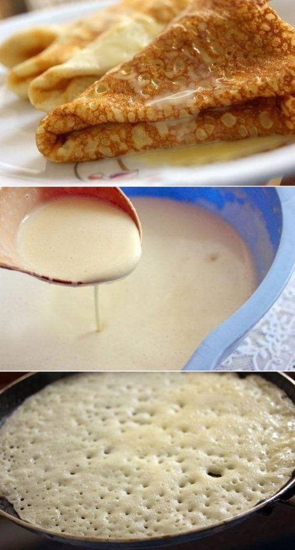 Блины на молоке без соды —  6  рецептов  тонких блинов с дырочками