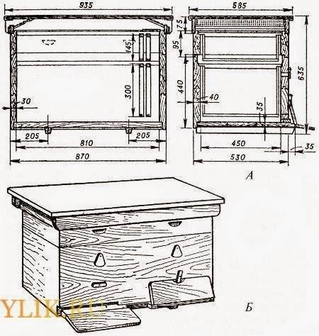Ульи дадан: размеры и чертежи на 8, 10, 12-ти рамок
