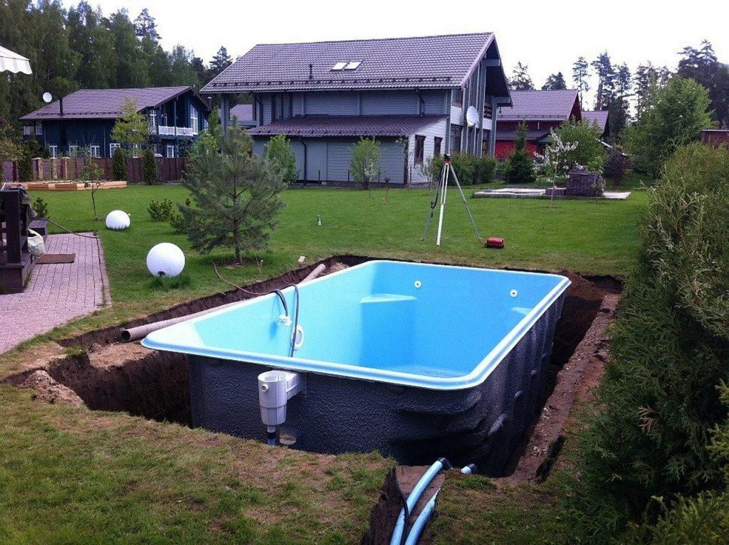 Установка композитного бассейна | оформление бассейна