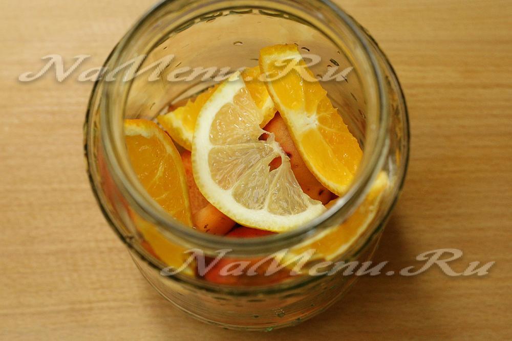 Компот из абрикосов как фанта на зиму с апельсином и лимоном по простому рецепту