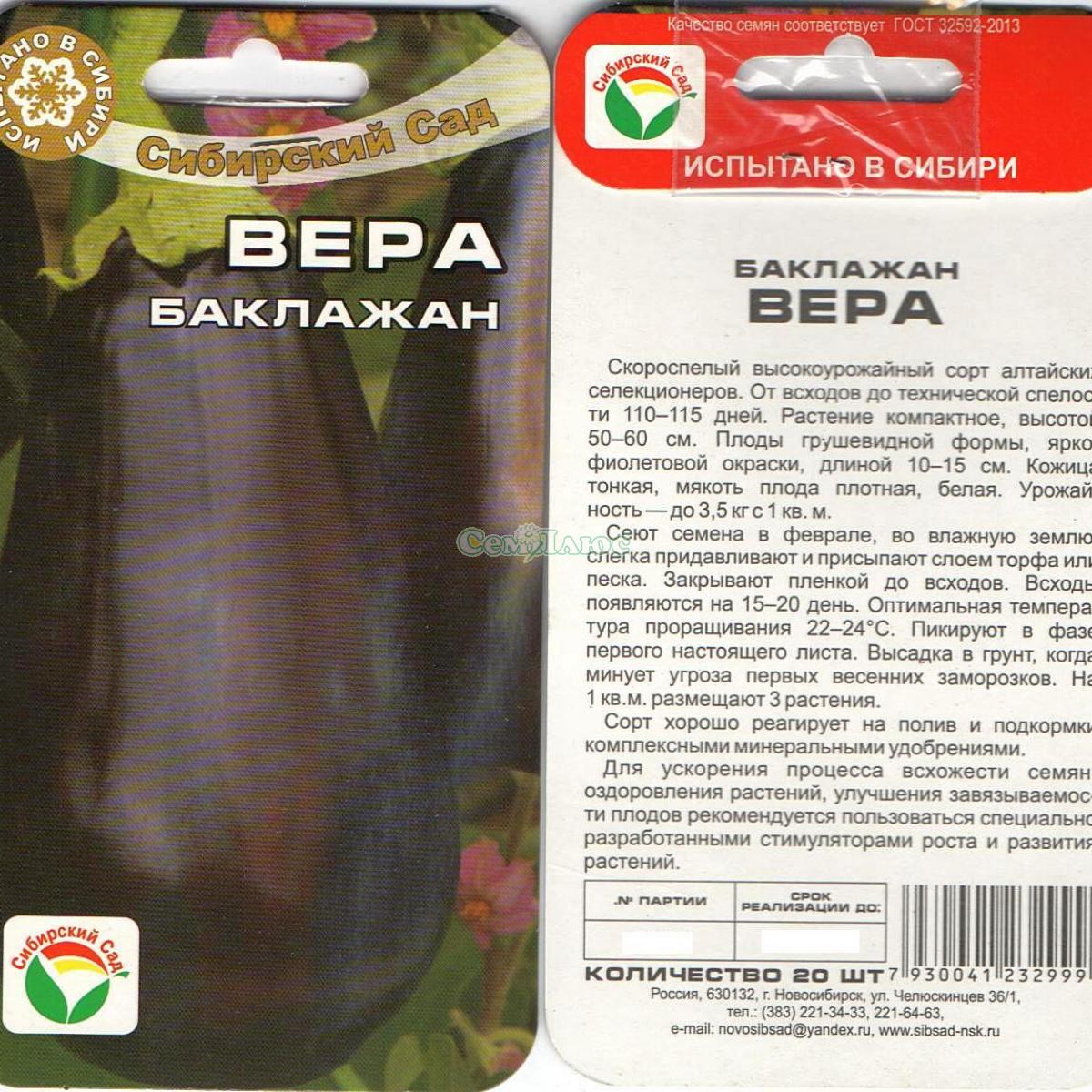 Баклажан вера (vera): описание сорта, фото, отзывы, урожайность, правила выращивания