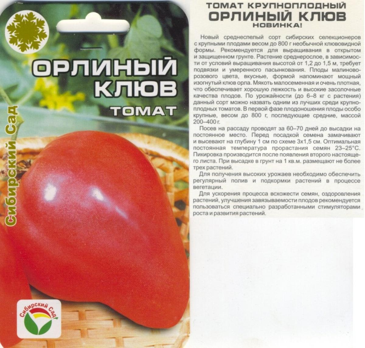 Томат орлиный клюв: отзывы, фото, урожайность, описание и характеристика   tomatland.ru