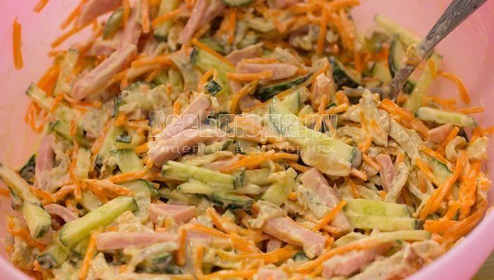 Салат с яичными блинчиками и ветчиной - рецепт с фото с корейской морковью на ydoo.info
