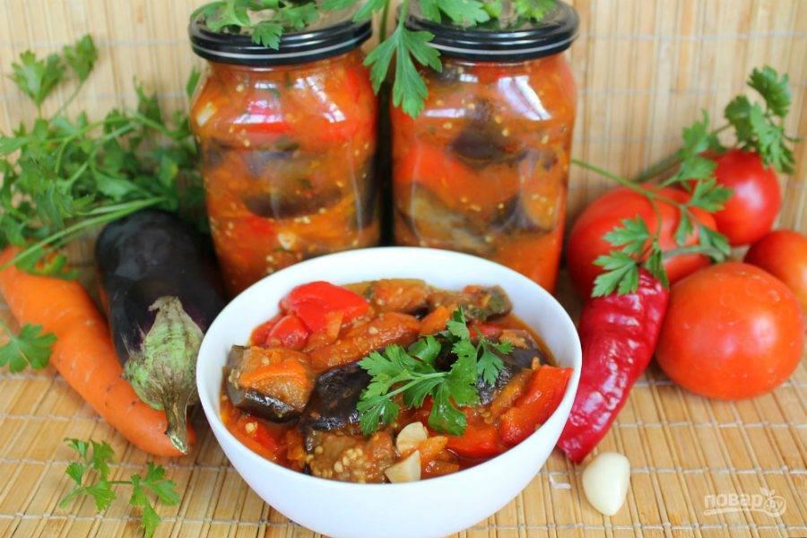 5 рецептов очень вкусного салата «десятка» из баклажанов на зиму