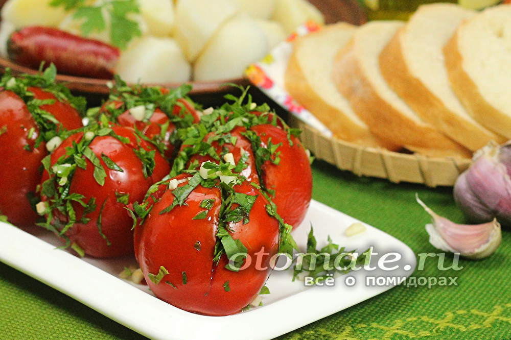 Малосольные помидоры с чесноком и зеленью быстрого приготовления: 10 лучших рецептов с фото и видео