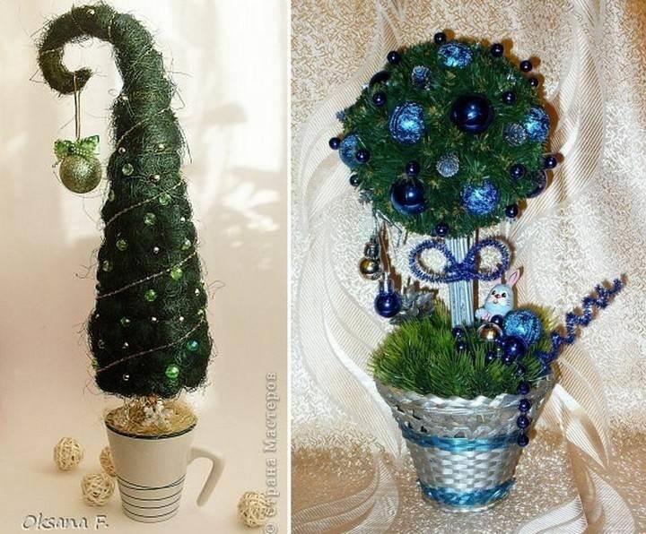 Стильный подарок и элемент декора на новый год своими руками: мастер-классы новогодних топиариев