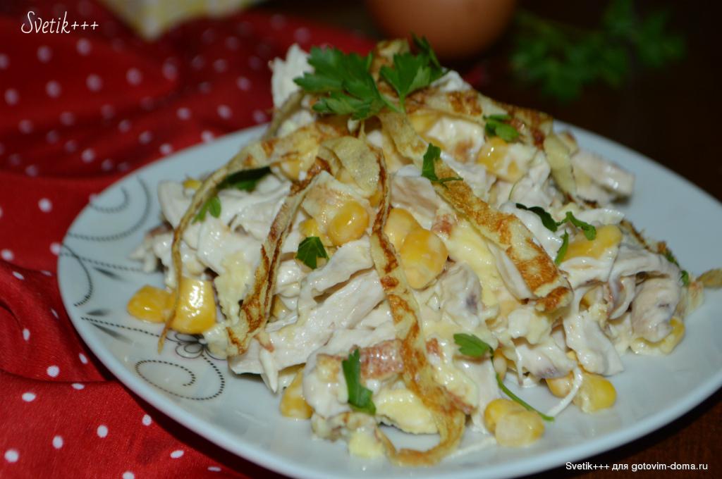 Блинный салат с копченой курицей – 6 рецептов салата с блинами и курицей