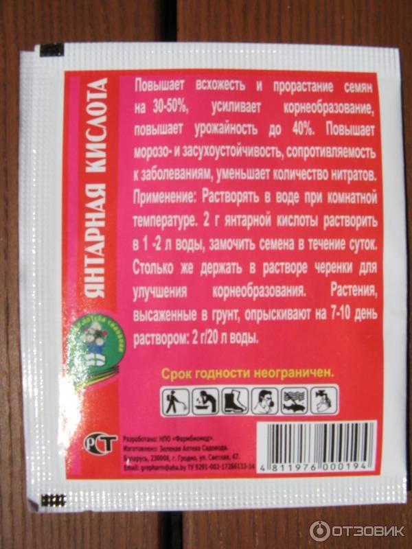 Янтарная кислота для огурцов: дозировка и применение в таблетках