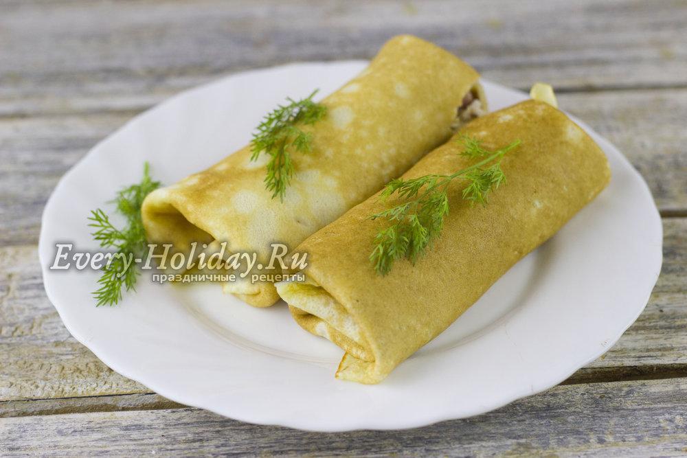Блины с ветчиной и сыром пошаговый фото рецепт