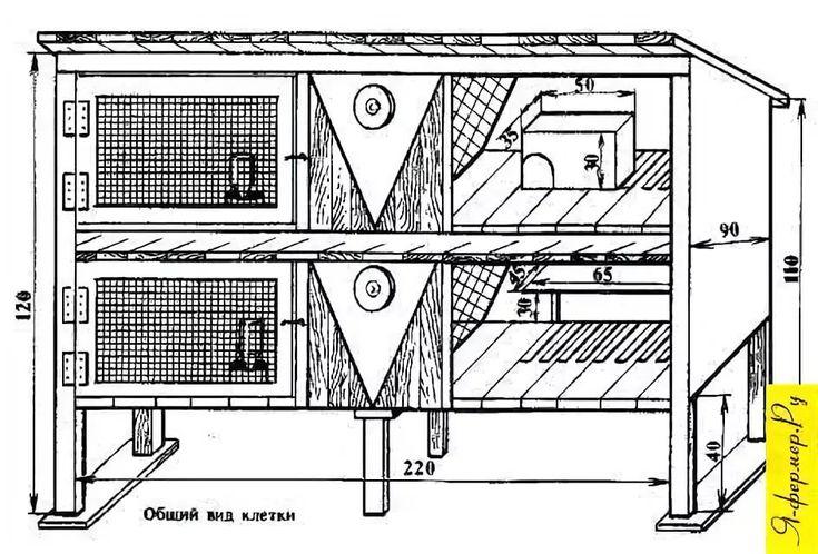 Двухъярусные клетки для кроликов: своими руками с чертежами