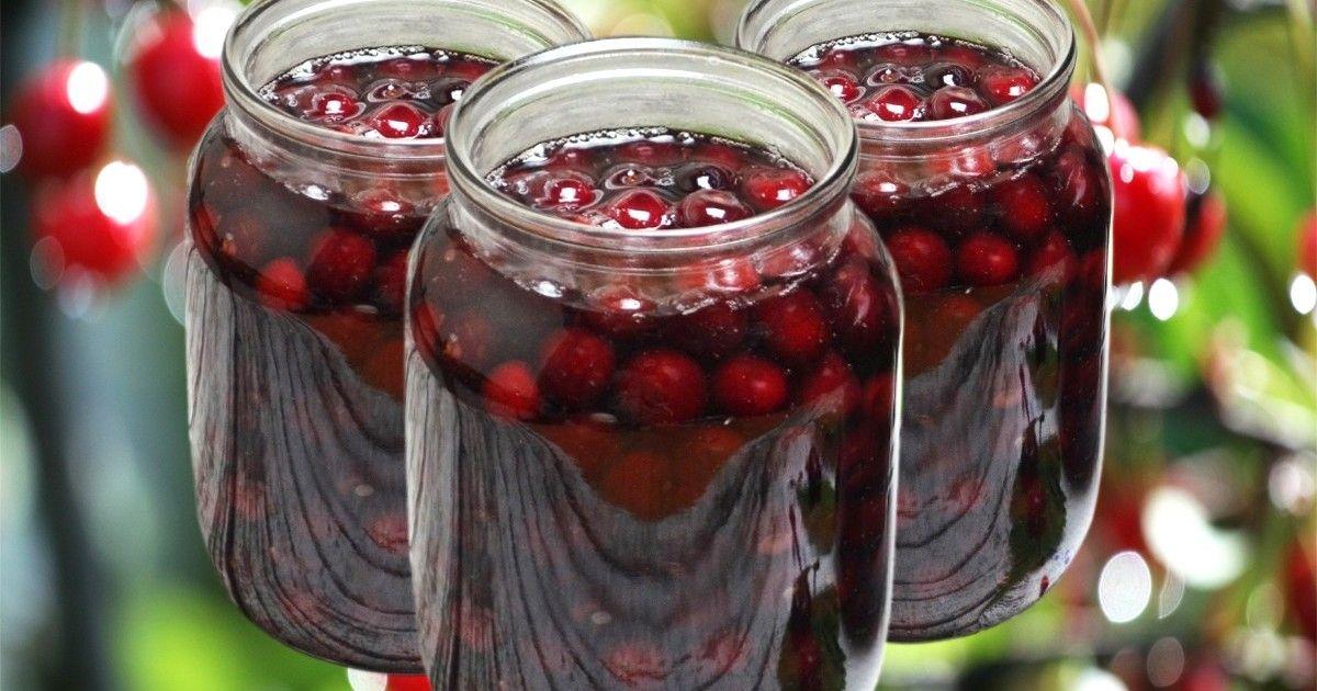 Компот из вишни на зиму - рецепт на 3 литровую банку, без стерилизации, простой с косточкой