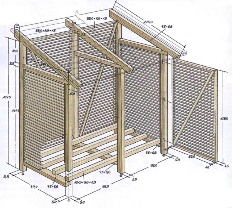 Строим дровник для дачи своими руками - фото, чертежи