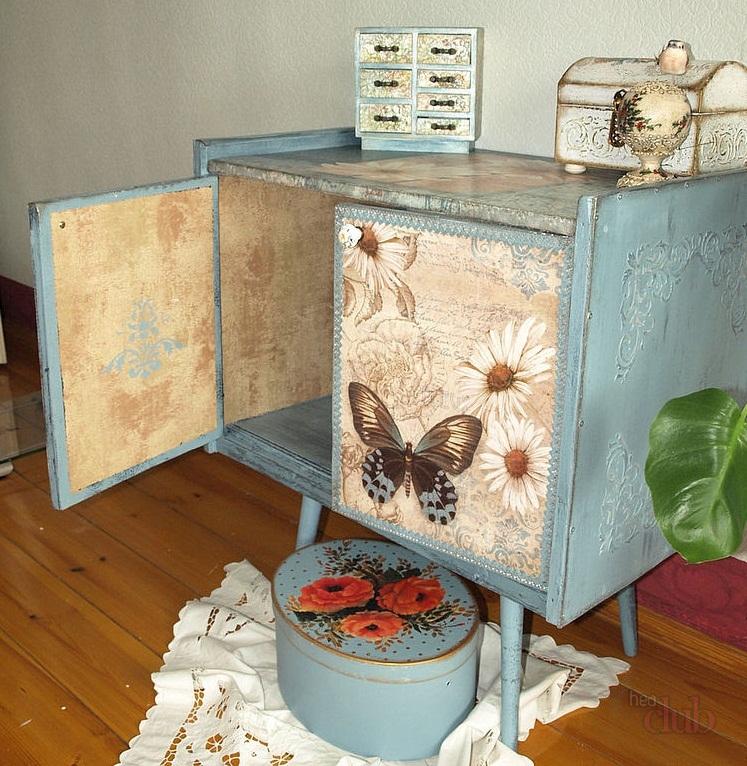 Декупаж мебели салфетками, обоями, тканью - мастер-классы с фото и видео