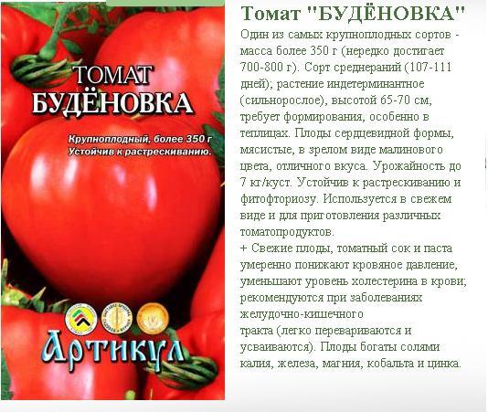 Характеристика томатов сорта будёновка: отличительные черты и секреты выращивания