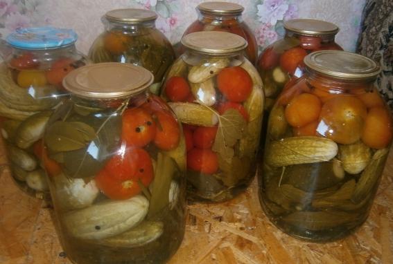Засолка ассорти: огурцы и помидоры