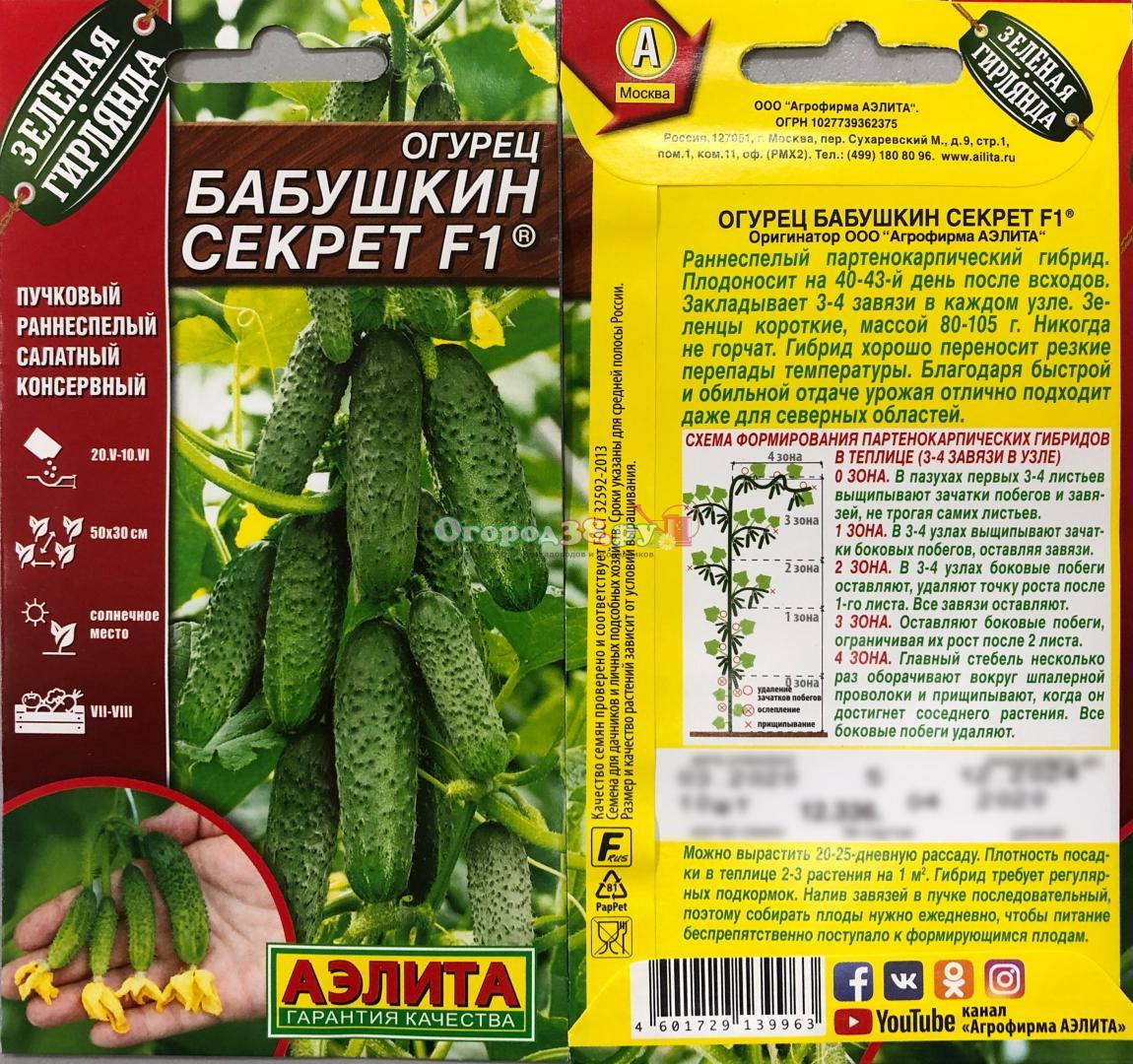Фото, видео, описание, посадка, характеристика, урожайность, отзывы о гибриде огурцов «бабушкин секрет f1».
